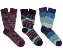 Three-pack Patterned Cotton Socks