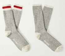 Two-Pack Striped Mélange Cotton-Blend Socks