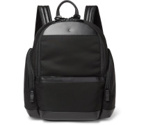 Nightflight Leather-trimmed Nylon Backpack