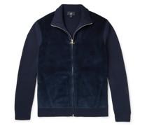 Panelled Cotton-Blend Corduroy and Merino Wool Zip-Up Cardigan