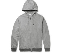 Mélange Stretch-cotton Jersey Zip-up Hoodie