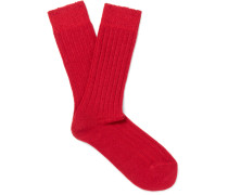 Ribbed-knit Wool-blend Socks