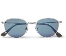 Round-frame Silver-tone Mirrored Sunglasses
