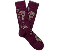 Floral-Intarsia Pima Cotton-Blend Socks