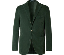 Green Slim-fit Stretch-cotton Corduroy Blazer