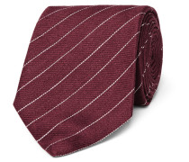 8cm Striped Linen And Mulberry Silk-blend Tie