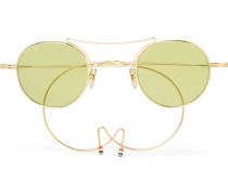 Round-frame Aviator-style Gold-tone Sunglasses