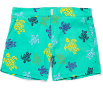 Merise Turtle-print Mid-length Swim Shorts