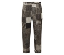 Cropped Tapered Patchwork Printed Cotton-Blend Corduroy Trousers
