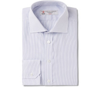 Blue Slim-fit Pinstriped Cotton Shirt