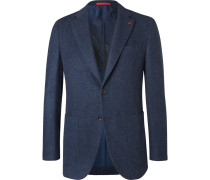 Navy Slim-fit Brushed Wool And Cashmere-blend Blazer