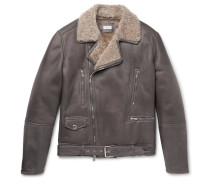 Belted Shearling Biker Jacket