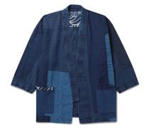 Patchwork Indigo-Dyed Linen Jacket