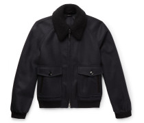 Cashmere And Silk-blend Trimmed Wool-felt Bomber Jacket