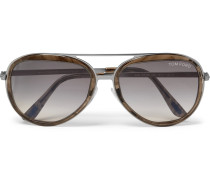 Aviator-style Gunmetal-tone And Acetate Sunglasses