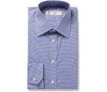 Blue Slim-fit Micro-gingham Cotton-poplin Shirt