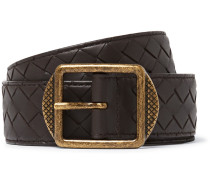 3.5cm Dark-brown Intrecciato Leather Belt