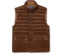 Quilted Suede Down Gilet
