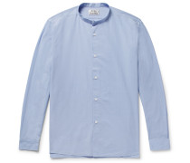 Pine Slim-fit Grandad-collar Cotton-poplin Shirt