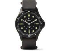Navi Harbor Stainless Steel And Stonewashed Leather Watch