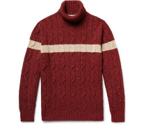 Cable-knit Virgin Wool-blend Rollneck Sweater