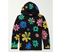 + Brian Blomerth Sound Flowers Intarsia Cashmere Hooded Sweater