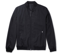 Leather-trimmed Trofeo Wool Bomber Jacket