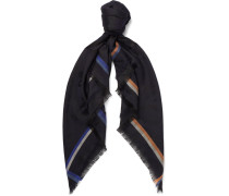 Fringed Cashmere, Silk, Wool And Cotton-blend Jacquard Scarf