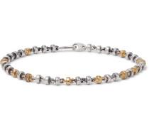 Omni Oxidised Sterling Silver and 18-Karat Gold Diamond Bracelet