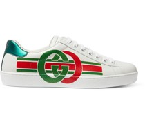 Ace Logo-Print Leather Sneakers