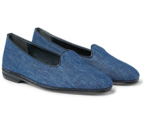 Leather-trimmed Denim Loafers