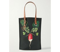 Leather-Trimmed Printed Canvas Tote Bag