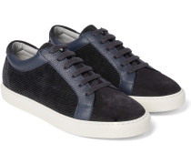 Leather-trimmed Suede And Corduroy Sneakers
