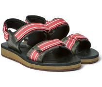 Faille-trimmed Camouflage-print Full-grain Leather Sandals