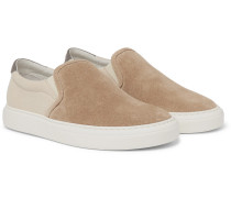 Suede And Canvas Slip-on Sneakers