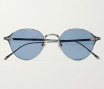 Round-Frame Silver-Tone Titanium Sunglasses