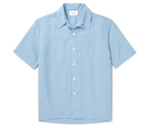 Convertible-Collar Garment-Dyed Lyocell, Linen and Cotton-Blend Shirt