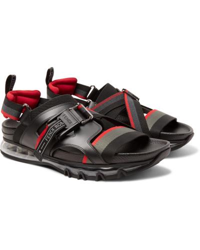 Leather-trimmed Webbing Sandals - Black