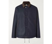 Loden Faux Suede-Trimmed Wool Jacket
