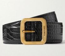 4cm Croc-Effect Leather Belt
