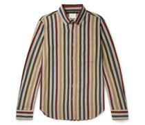 Button-Down Collar Striped Cotton-Oxford Shirt