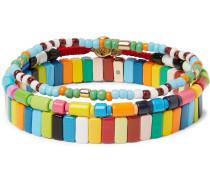 Set of Three Enamel and Gold-Tone Bracelets