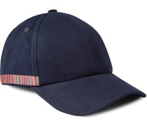 Leather-Trimmed Striped Organic Cotton-Twill Baseball Cap