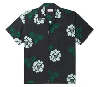 Canty Rose Camp-Collar Printed Voile Shirt