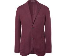 Red Slim-fit Unstructured Cotton, Linen And Silk-blend Blazer