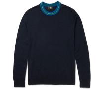 Contrast-trimmed Merino Wool-blend Sweater