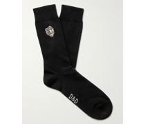 Embroidered Cotton-Blend Socks