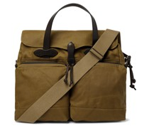 Leather-Trimmed Waxed Cotton-Canvas Briefcase