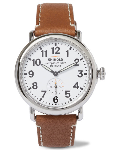 The Runwell Stainless Steel And Leather Watch
