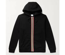 Webbing-Trimmed Loopback Cotton-Jersey Zip-Up Hoodie